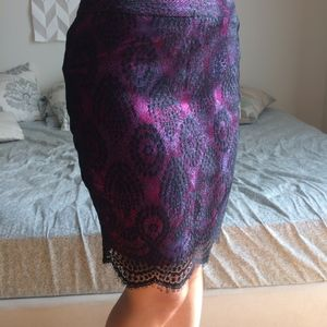 Dresses & Skirts - Black lace and magenta silk pencil skirt XXS